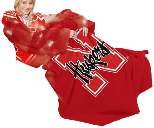 NCAA Nebraska Cornhuskers Comfy Throw Blanket with Sleeves, Smoke Design