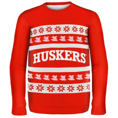 Nebraska Cornhuskers Wordmark Ugly Sweater